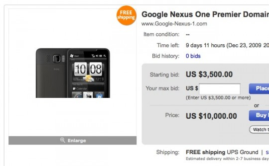 Enchère google-nexus-one.com