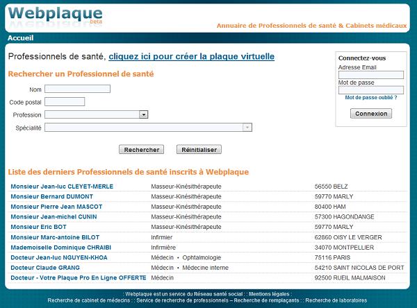 Capture d'écran WebPlaque