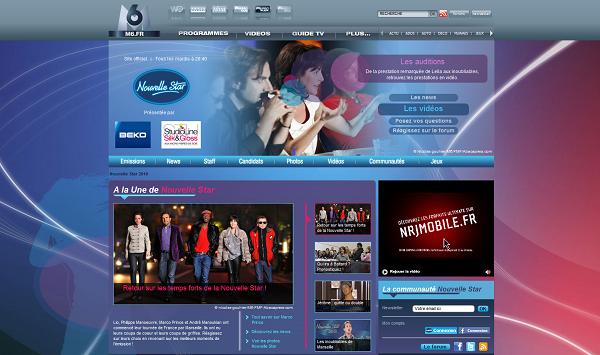 Capture d'écran du site Nouvelle Star