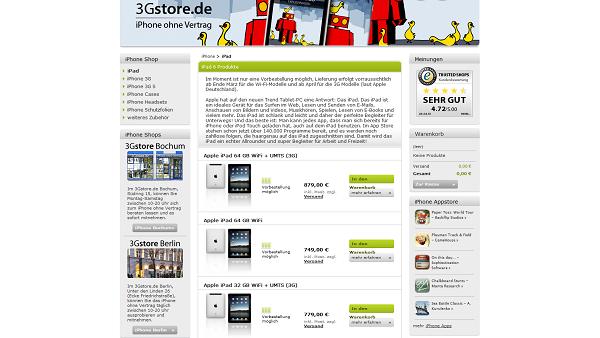 iPad sur 3gStore