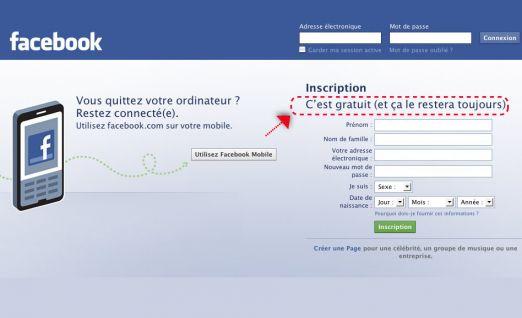Facebook c'est gratuit